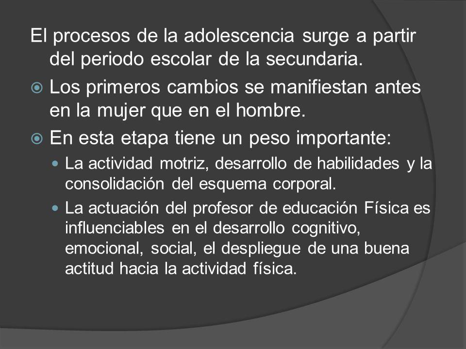 El procesos de la adolescencia surge a partir del periodo escolar de la secundaria.