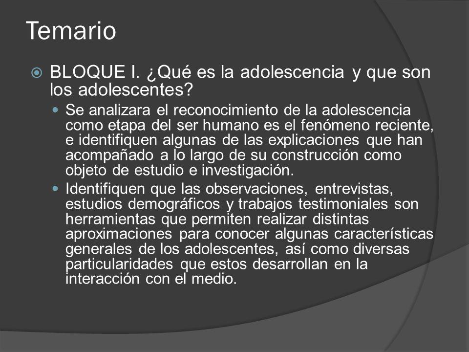 Temario BLOQUE I.¿Qué es la adolescencia y que son los adolescentes.