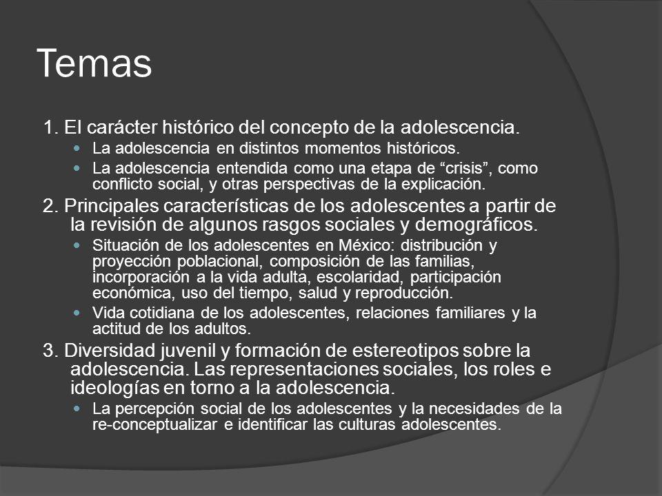 Temas 1.El carácter histórico del concepto de la adolescencia.