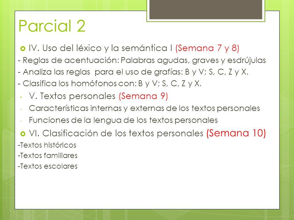 Parcial 2 IV. Uso del léxico y la semántica I (Semana 7 y 8) - Reglas de acentuación: Palabras agudas, graves y esdrújulas - Analiza las reglas para e