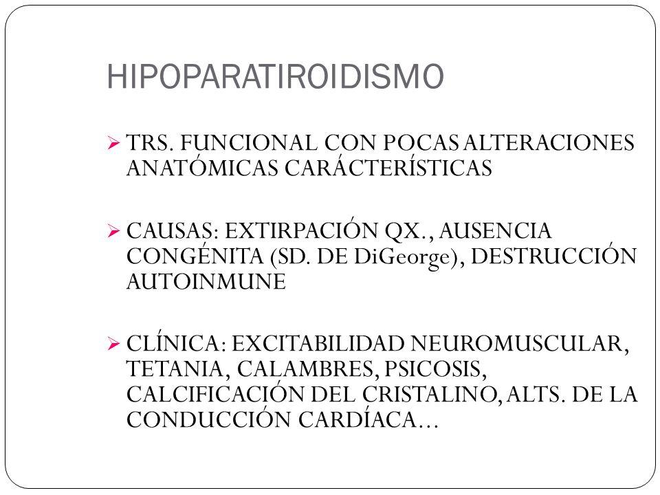 HIPOPARATIROIDISMO TRS. FUNCIONAL CON POCAS ALTERACIONES ANATÓMICAS CARÁCTERÍSTICAS CAUSAS: EXTIRPACIÓN QX., AUSENCIA CONGÉNITA (SD. DE DiGeorge), DES