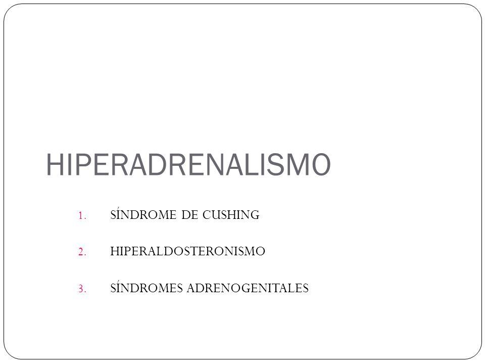 HIPERADRENALISMO 1. SÍNDROME DE CUSHING 2. HIPERALDOSTERONISMO 3. SÍNDROMES ADRENOGENITALES