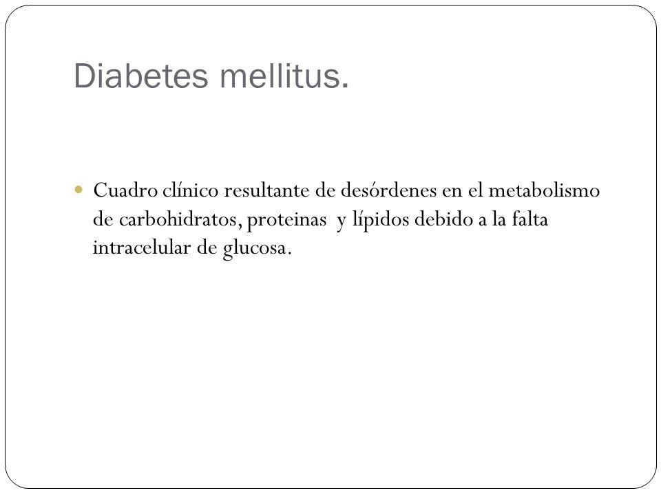 Diabetes mellitus. Cuadro clínico resultante de desórdenes en el metabolismo de carbohidratos, proteinas y lípidos debido a la falta intracelular de g