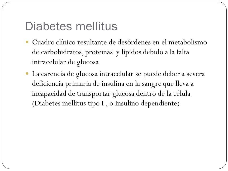 Diabetes mellitus Cuadro clínico resultante de desórdenes en el metabolismo de carbohidratos, proteinas y lípidos debido a la falta intracelular de glucosa.