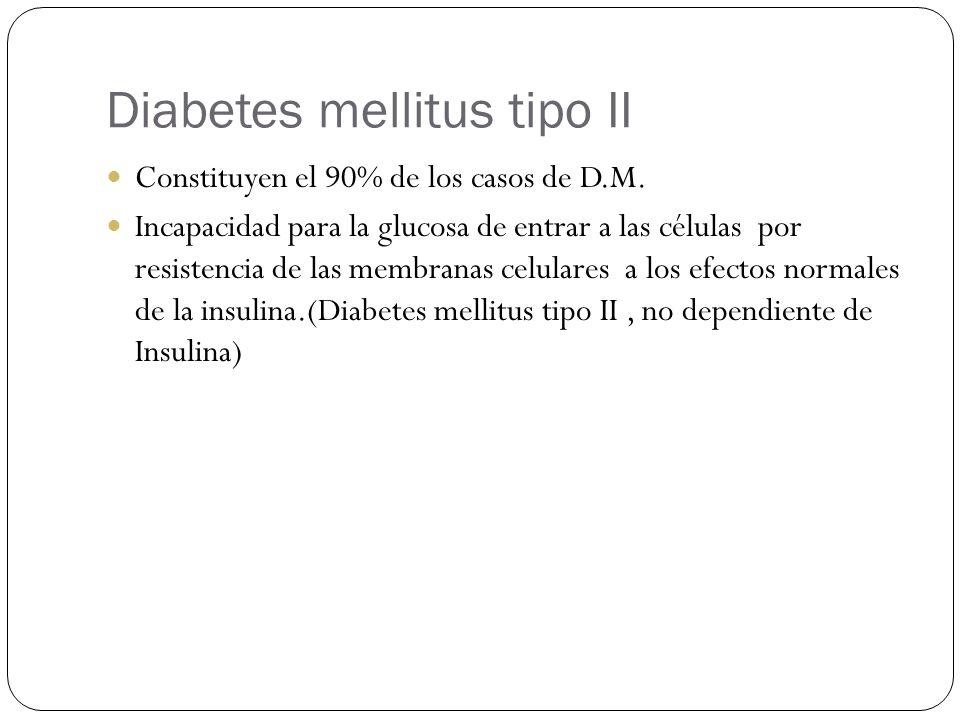 Diabetes mellitus tipo II Constituyen el 90% de los casos de D.M. Incapacidad para la glucosa de entrar a las células por resistencia de las membranas