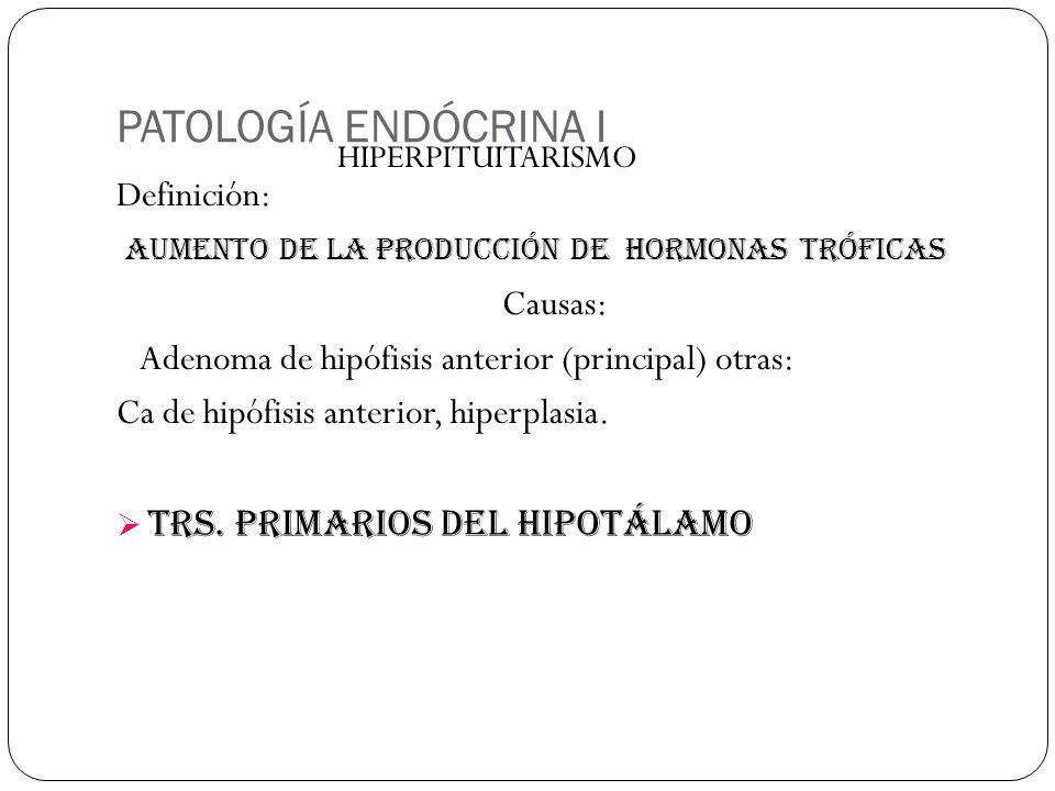 PATOLOGÍA ENDÓCRINA I Definición: AUMENTO DE LA PRODUCCIÓN DE hORMONAS TRÓFICAS Causas: Adenoma de hipófisis anterior (principal) otras: Ca de hipófisis anterior, hiperplasia.