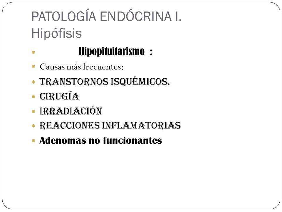 PATOLOGÍA ENDÓCRINA I. Hipófisis Hipopituitarismo : Causas más frecuentes: Transtornos isquémicos. Cirugía Irradiación Reacciones inflamatorias Adenom