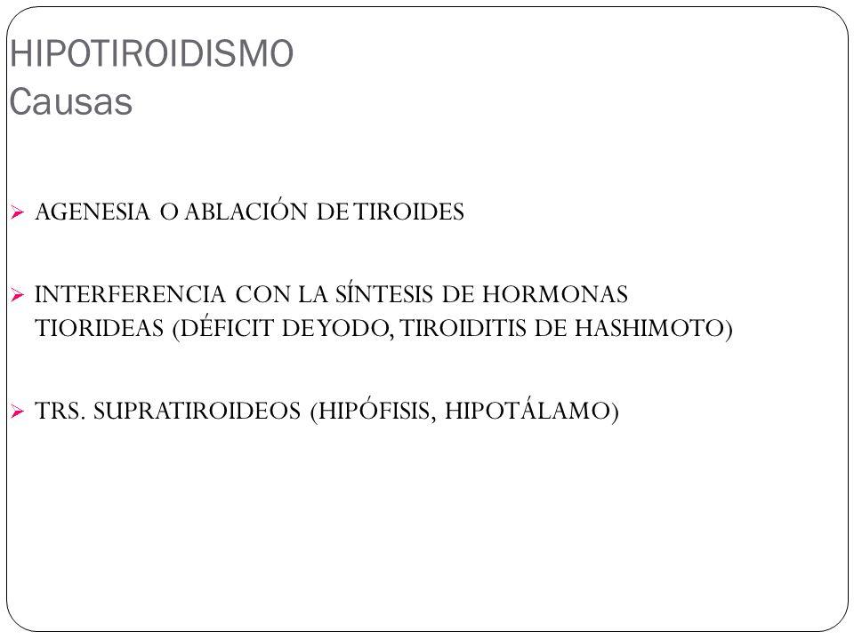 HIPOTIROIDISMO Causas AGENESIA O ABLACIÓN DE TIROIDES INTERFERENCIA CON LA SÍNTESIS DE HORMONAS TIORIDEAS (DÉFICIT DE YODO, TIROIDITIS DE HASHIMOTO) TRS.