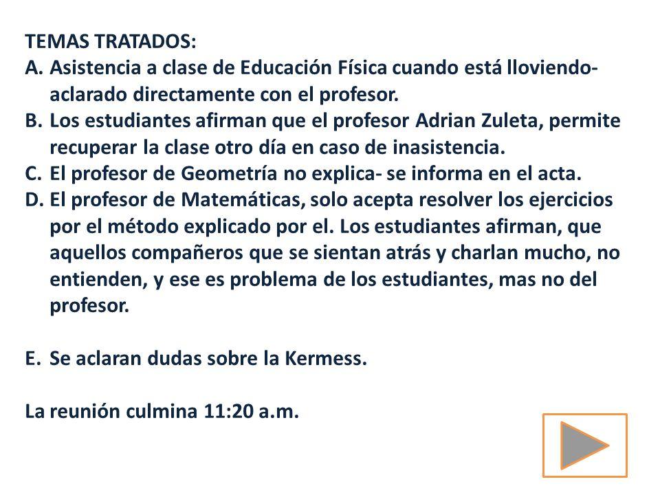 TEMAS TRATADOS: A.Asistencia a clase de Educación Física cuando está lloviendo- aclarado directamente con el profesor.
