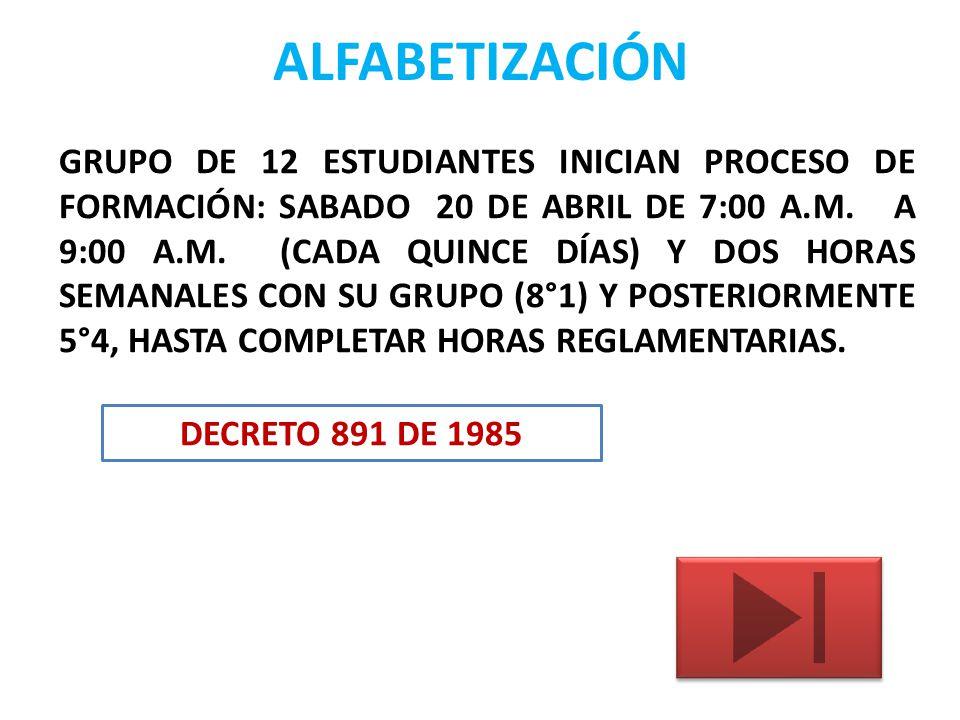 ALFABETIZACIÓN GRUPO DE 12 ESTUDIANTES INICIAN PROCESO DE FORMACIÓN: SABADO 20 DE ABRIL DE 7:00 A.M. A 9:00 A.M. (CADA QUINCE DÍAS) Y DOS HORAS SEMANA