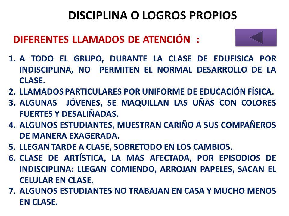 DISCIPLINA O LOGROS PROPIOS DIFERENTES LLAMADOS DE ATENCIÓN : 1.A TODO EL GRUPO, DURANTE LA CLASE DE EDUFISICA POR INDISCIPLINA, NO PERMITEN EL NORMAL DESARROLLO DE LA CLASE.