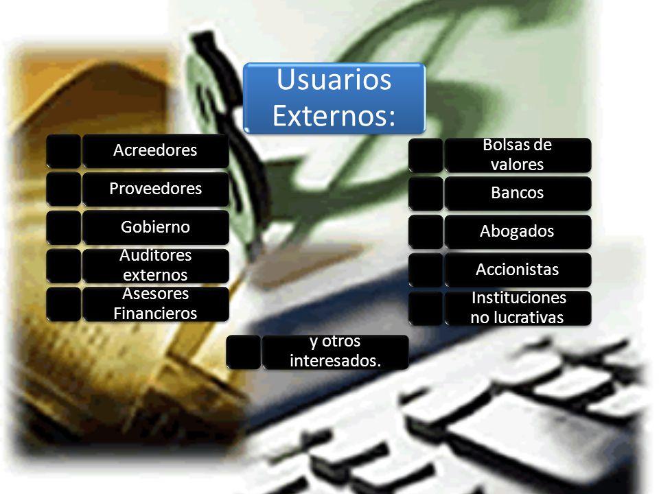 Usuarios Externos: AcreedoresProveedoresGobierno Auditores externos Asesores Financieros Bolsas de valores BancosAbogadosAccionistas Instituciones no lucrativas y otros interesados.