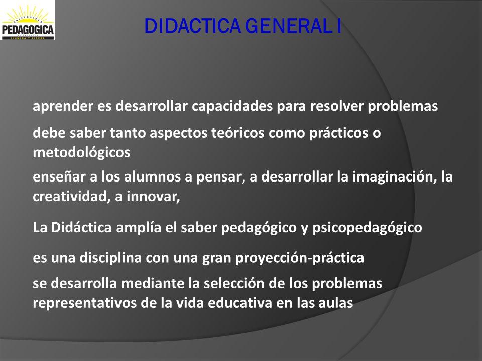 DIDACTICA GENERAL I aprender es desarrollar capacidades para resolver problemas debe saber tanto aspectos teóricos como prácticos o metodológicos ense
