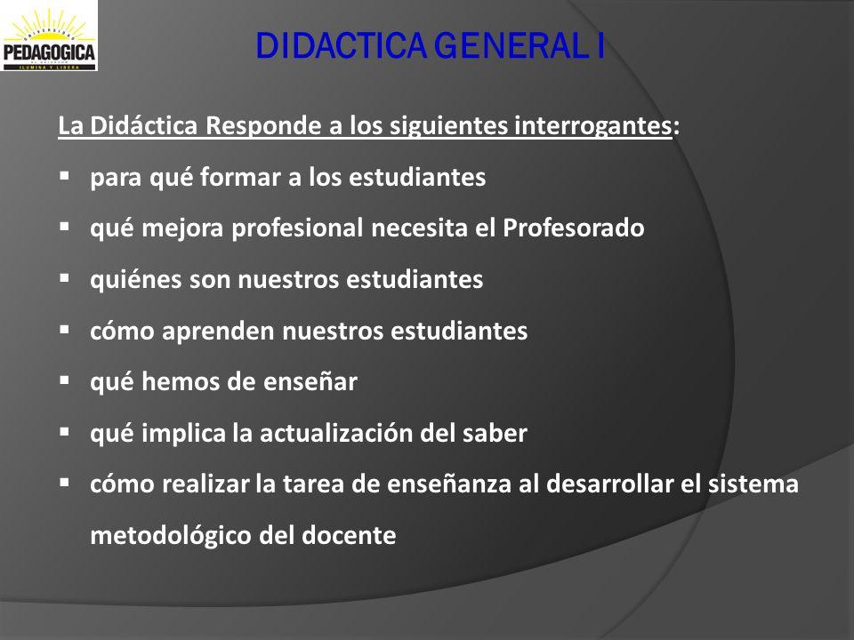 DIDACTICA GENERAL I La Didáctica Responde a los siguientes interrogantes: para qué formar a los estudiantes qué mejora profesional necesita el Profeso