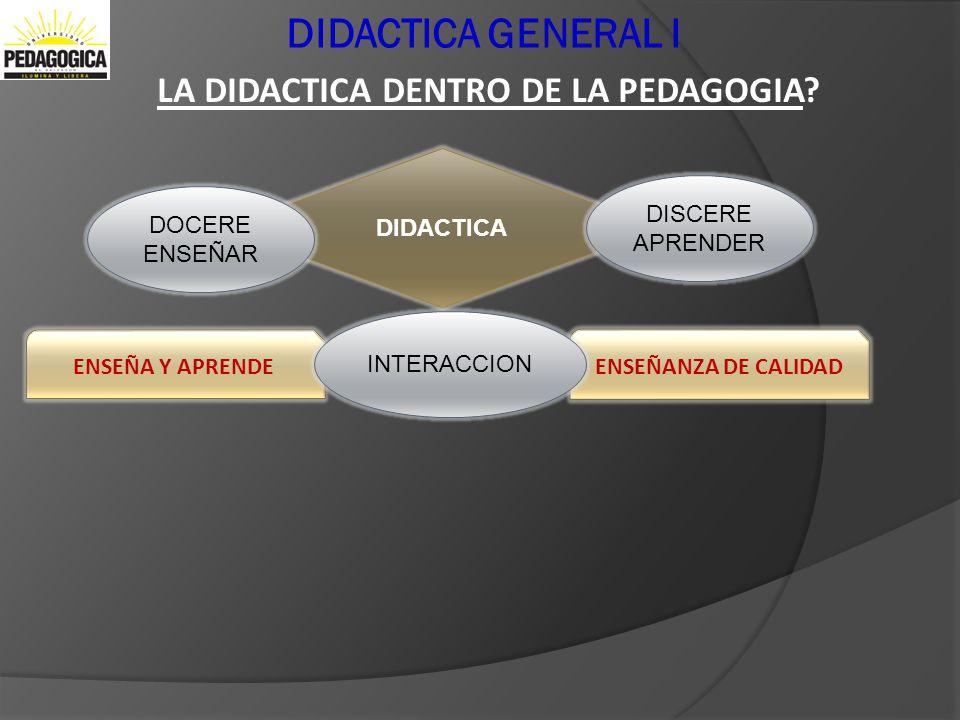DIDACTICA GENERAL I LA DIDACTICA DENTRO DE LA PEDAGOGIA? DIDACTICA DOCERE ENSEÑAR DISCERE APRENDER ENSEÑANZA DE CALIDADENSEÑA Y APRENDE INTERACCION