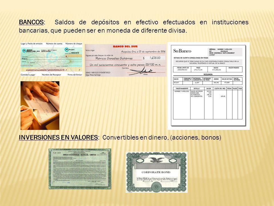 1.DISPONIBLE: Todas las cuentas que manejan efectivo y saldos en efectivo, que está disponible en cualquier momento para ser utilizado en las distinta