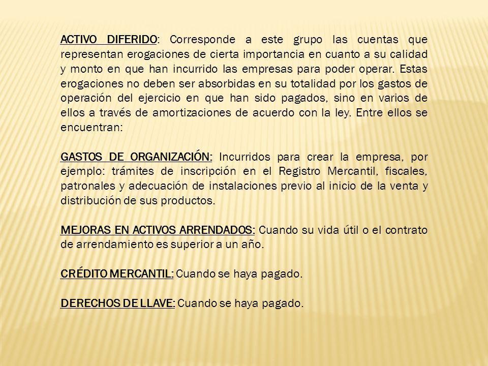 Herramientas Semovientes Cristalería Mantelería Y otros, de acuerdo con la actividad que realice la empresa.