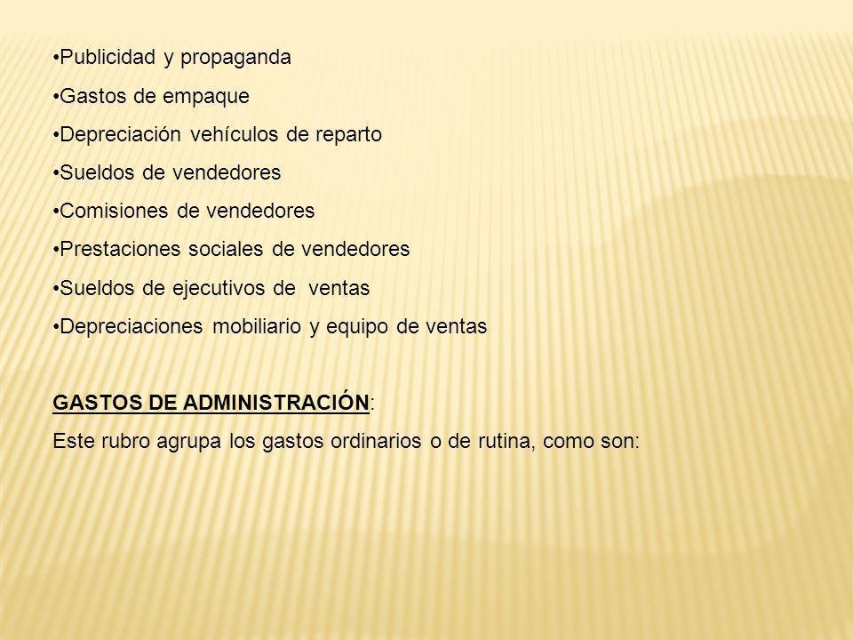 CUENTAS DE PRODUCTOS: Ventas (monto de las ventas efectuadas por mercaderías realizadas) Servicios Prestados (valor de los servicios prestados por la