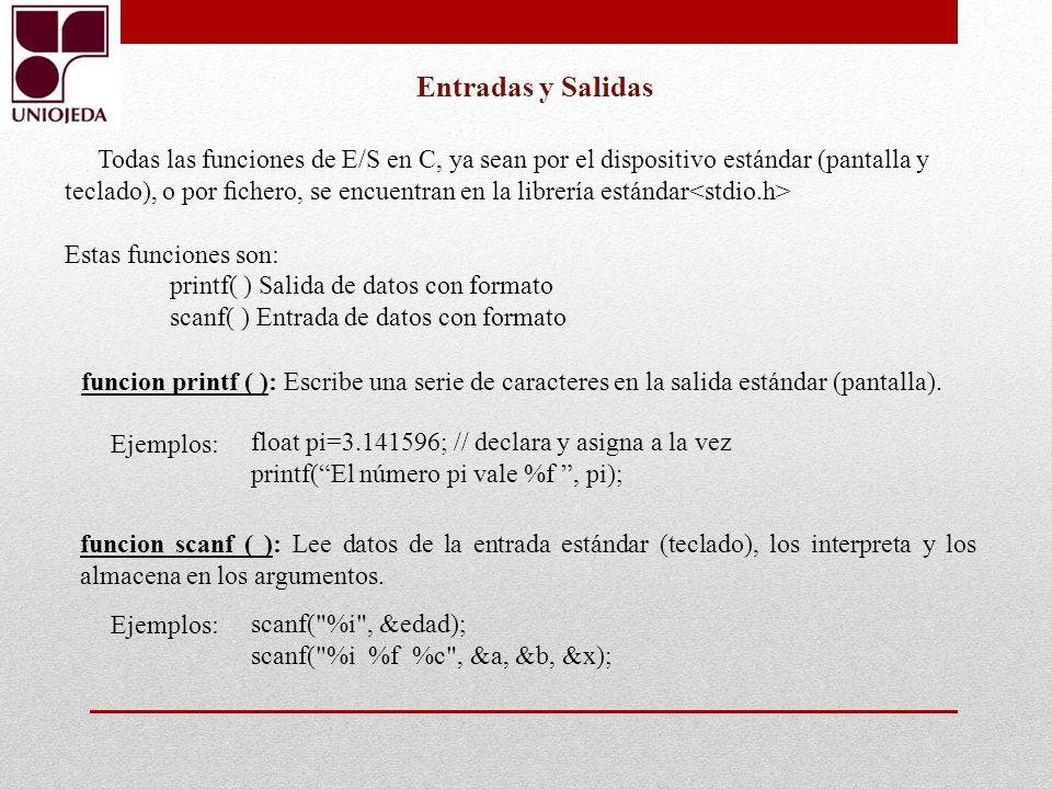 Todas las funciones de E/S en C, ya sean por el dispositivo estándar (pantalla y teclado), o por chero, se encuentran en la librería estándar Estas fu