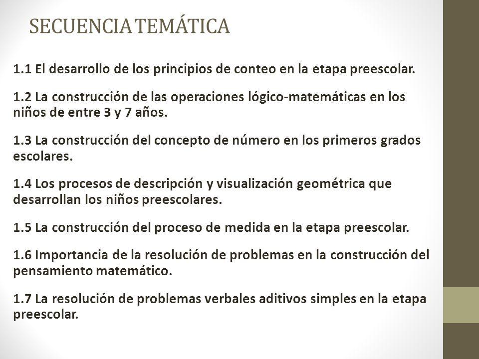 SECUENCIA TEMÁTICA 1.1 El desarrollo de los principios de conteo en la etapa preescolar. 1.2 La construcción de las operaciones lógico-matemáticas en