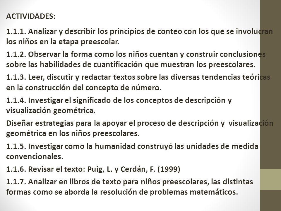 ACTIVIDADES: 1.1.1. Analizar y describir los principios de conteo con los que se involucran los niños en la etapa preescolar. 1.1.2. Observar la forma
