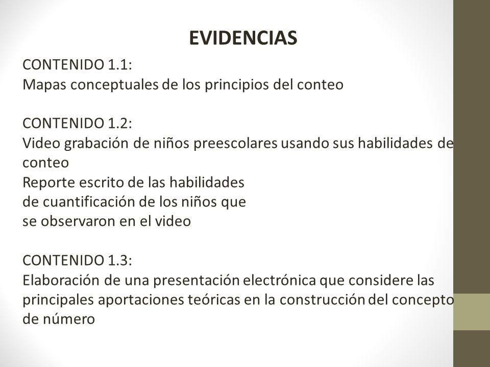 EVIDENCIAS CONTENIDO 1.1: Mapas conceptuales de los principios del conteo CONTENIDO 1.2: Video grabación de niños preescolares usando sus habilidades