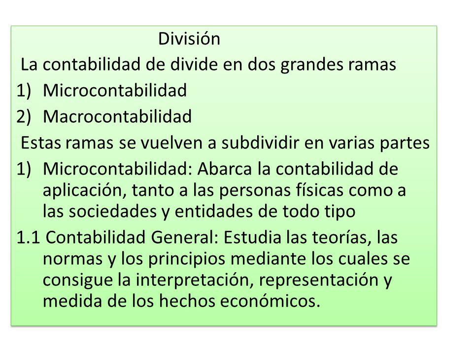 División La contabilidad de divide en dos grandes ramas 1)Microcontabilidad 2)Macrocontabilidad Estas ramas se vuelven a subdividir en varias partes 1
