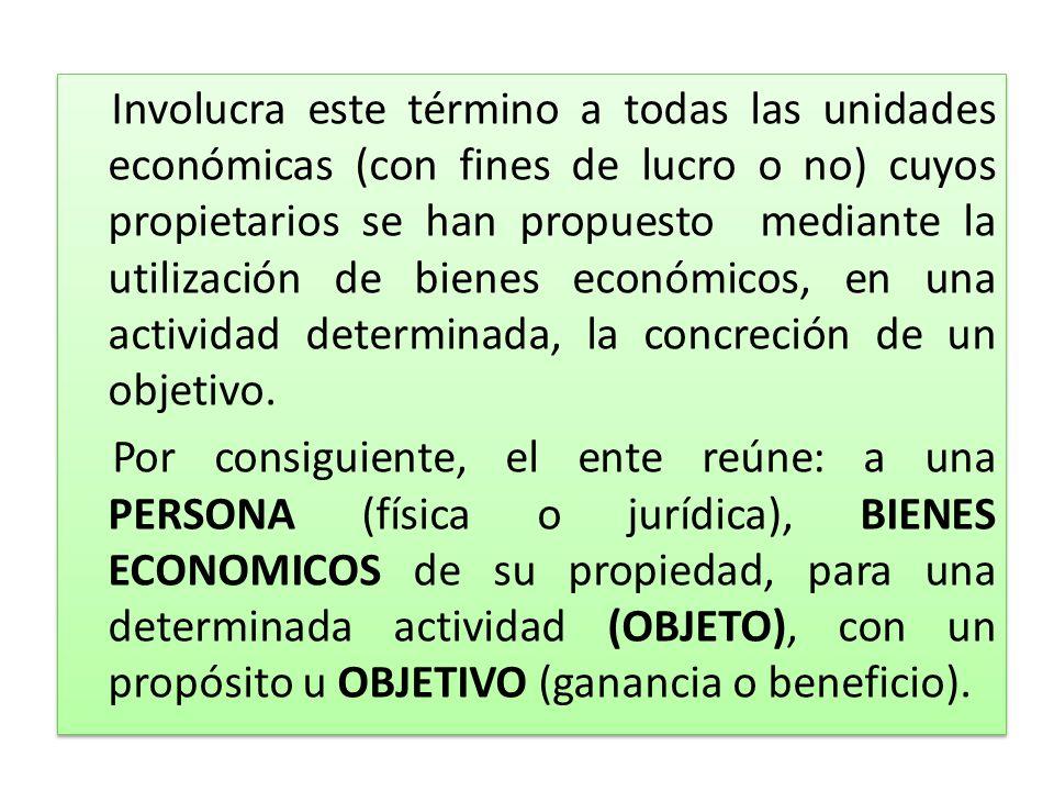 Involucra este término a todas las unidades económicas (con fines de lucro o no) cuyos propietarios se han propuesto mediante la utilización de bienes