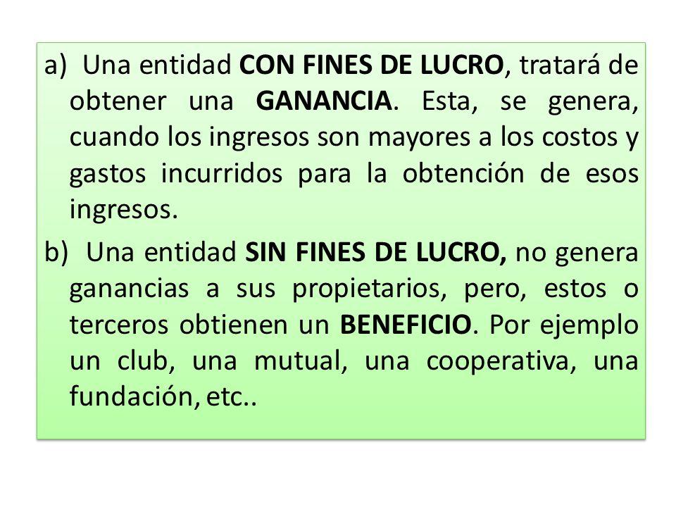 a) Una entidad CON FINES DE LUCRO, tratará de obtener una GANANCIA. Esta, se genera, cuando los ingresos son mayores a los costos y gastos incurridos