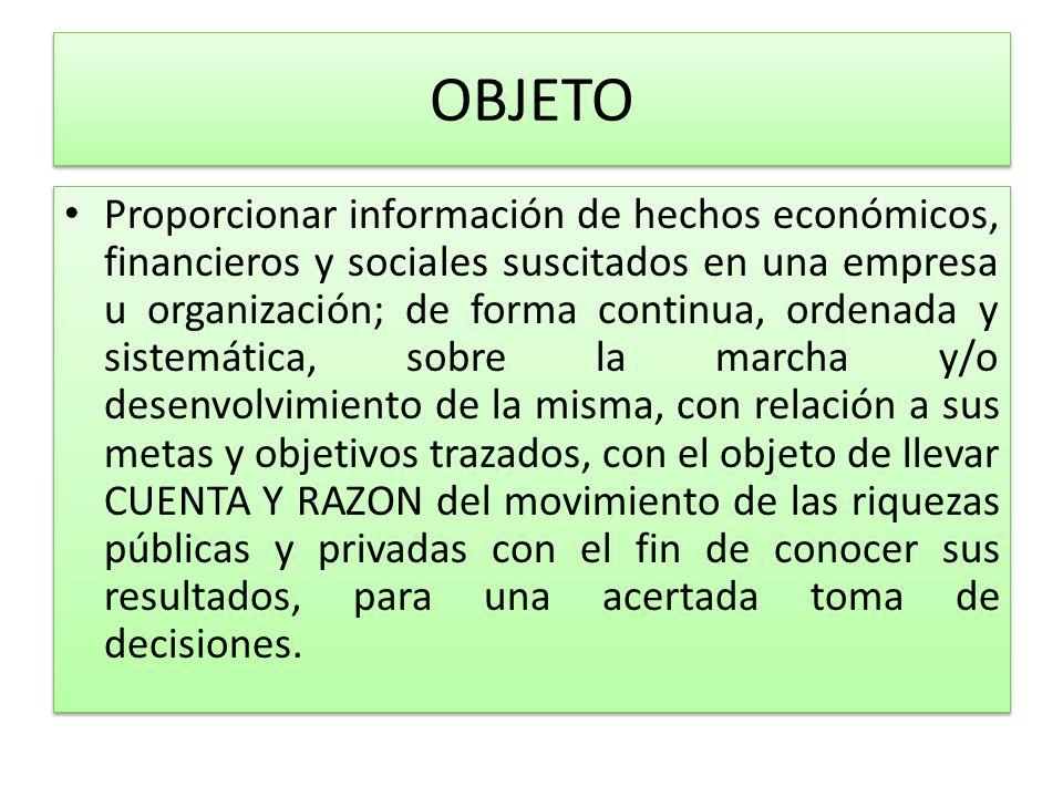 OBJETO Proporcionar información de hechos económicos, financieros y sociales suscitados en una empresa u organización; de forma continua, ordenada y s