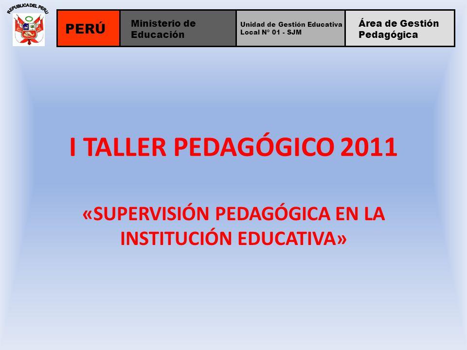 I TALLER PEDAGÓGICO 2011 «SUPERVISIÓN PEDAGÓGICA EN LA INSTITUCIÓN EDUCATIVA» PERÚ Unidad de Gestión Educativa Local Nº 01 - SJM Ministerio de Educaci