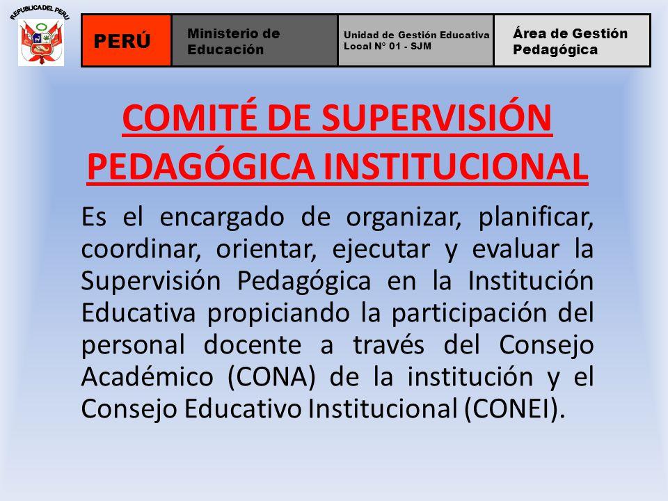 COMITÉ DE SUPERVISIÓN PEDAGÓGICA INSTITUCIONAL Es el encargado de organizar, planificar, coordinar, orientar, ejecutar y evaluar la Supervisión Pedagó