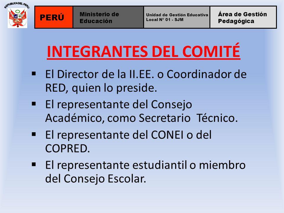 INTEGRANTES DEL COMITÉ El Director de la II.EE. o Coordinador de RED, quien lo preside. El representante del Consejo Académico, como Secretario Técnic