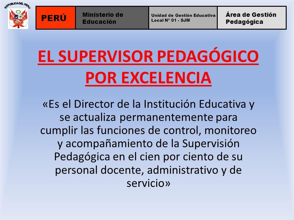 EL SUPERVISOR PEDAGÓGICO POR EXCELENCIA «Es el Director de la Institución Educativa y se actualiza permanentemente para cumplir las funciones de contr