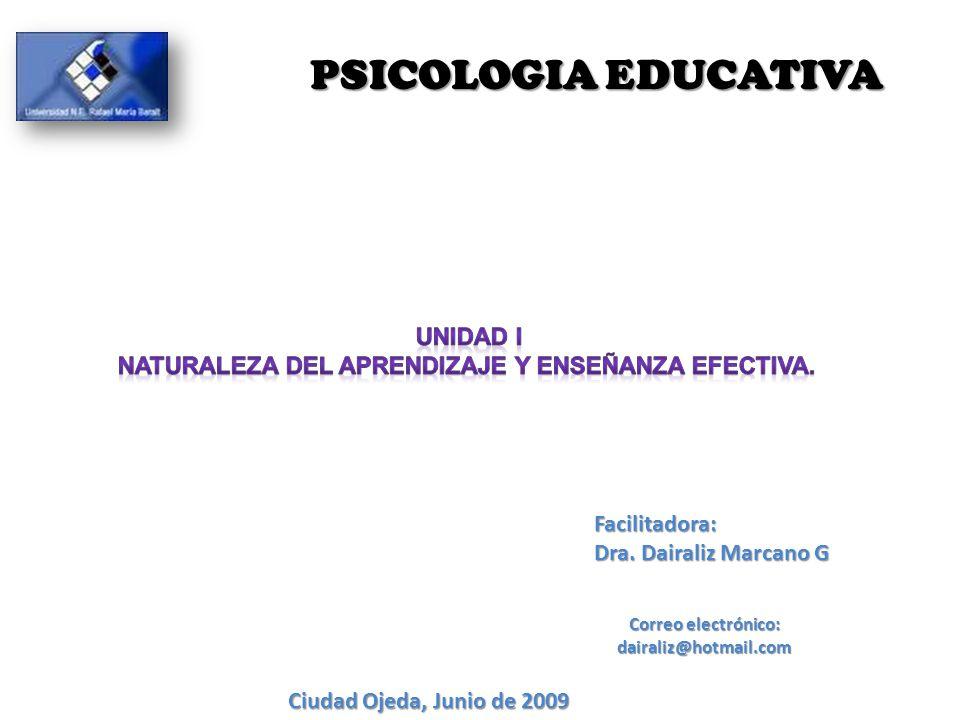 Facilitadora: Dra. Dairaliz Marcano G Correo electrónico: dairaliz@hotmail.com Ciudad Ojeda, Junio de 2009 PSICOLOGIAEDUCATIVA PSICOLOGIA EDUCATIVA