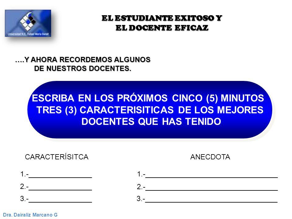 ESCRIBA EN LOS PRÓXIMOS CINCO (5) MINUTOS TRES (3) CARACTERISITICAS DE LOS MEJORES DOCENTES QUE HAS TENIDO ESCRIBA EN LOS PRÓXIMOS CINCO (5) MINUTOS T
