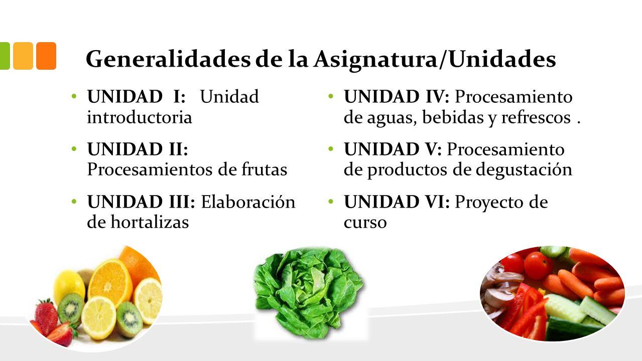 Generalidades de la Asignatura/Unidades UNIDAD I: Unidad introductoria UNIDAD II: Procesamientos de frutas UNIDAD III: Elaboración de hortalizas UNIDAD IV: Procesamiento de aguas, bebidas y refrescos.