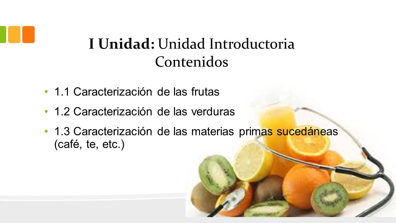 I Unidad: Unidad Introductoria Contenidos 1.1 Caracterización de las frutas 1.2 Caracterización de las verduras 1.3 Caracterización de las materias primas sucedáneas (café, te, etc.)