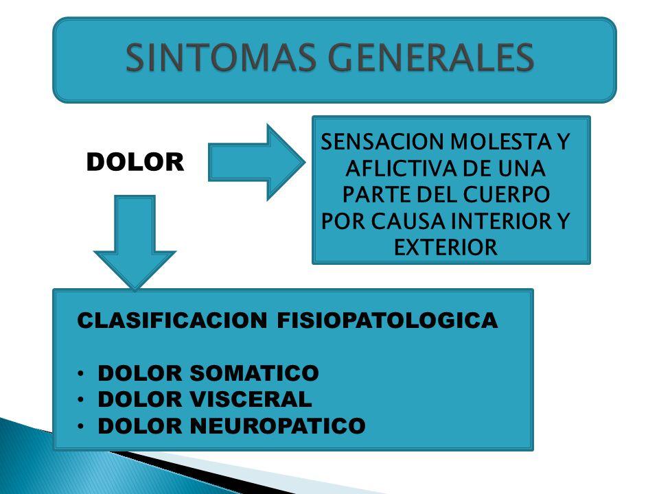DOLOR SENSACION MOLESTA Y AFLICTIVA DE UNA PARTE DEL CUERPO POR CAUSA INTERIOR Y EXTERIOR CLASIFICACION FISIOPATOLOGICA DOLOR SOMATICO DOLOR VISCERAL