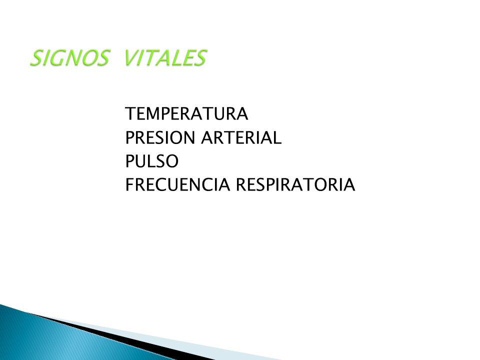SIGNOS VITALES TEMPERATURA PRESION ARTERIAL PULSO FRECUENCIA RESPIRATORIA