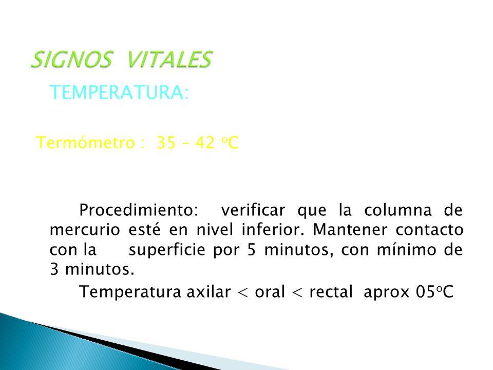 SIGNOS VITALES TEMPERATURA: Se realiza en diversas zonas del o Termómetro : 35 – 42 o C Procedimiento: verificar que la columna de mercurio esté en ni