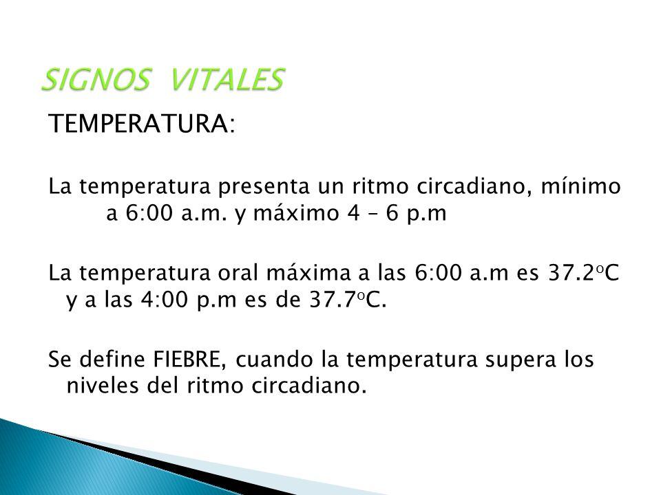 SIGNOS VITALES TEMPERATURA: La temperatura presenta un ritmo circadiano, mínimo a 6:00 a.m. y máximo 4 – 6 p.m La temperatura oral máxima a las 6:00 a