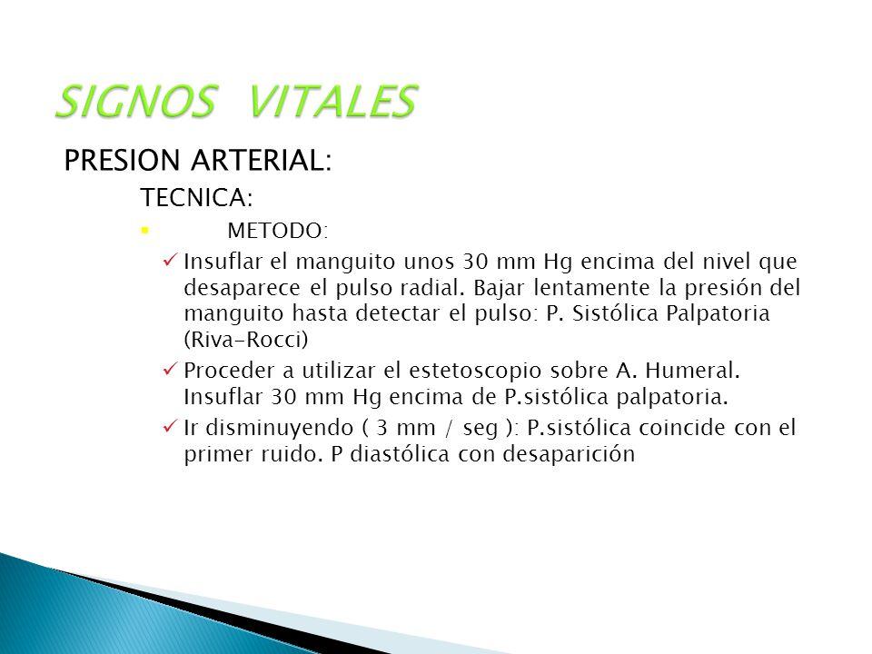 SIGNOS VITALES PRESION ARTERIAL: TECNICA: METODO: Insuflar el manguito unos 30 mm Hg encima del nivel que desaparece el pulso radial. Bajar lentamente