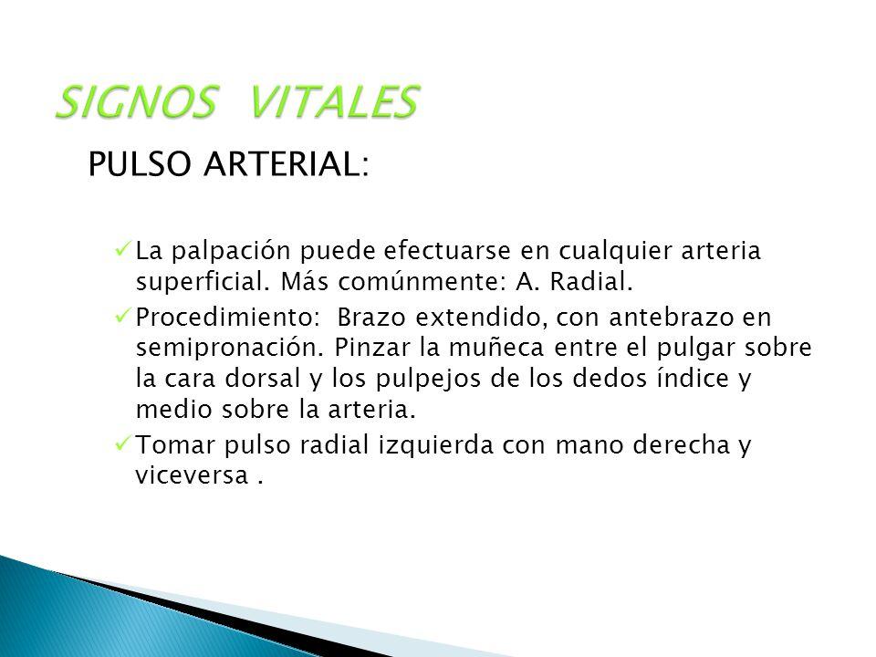 SIGNOS VITALES PULSO ARTERIAL: La palpación puede efectuarse en cualquier arteria superficial. Más comúnmente: A. Radial. Procedimiento: Brazo extendi