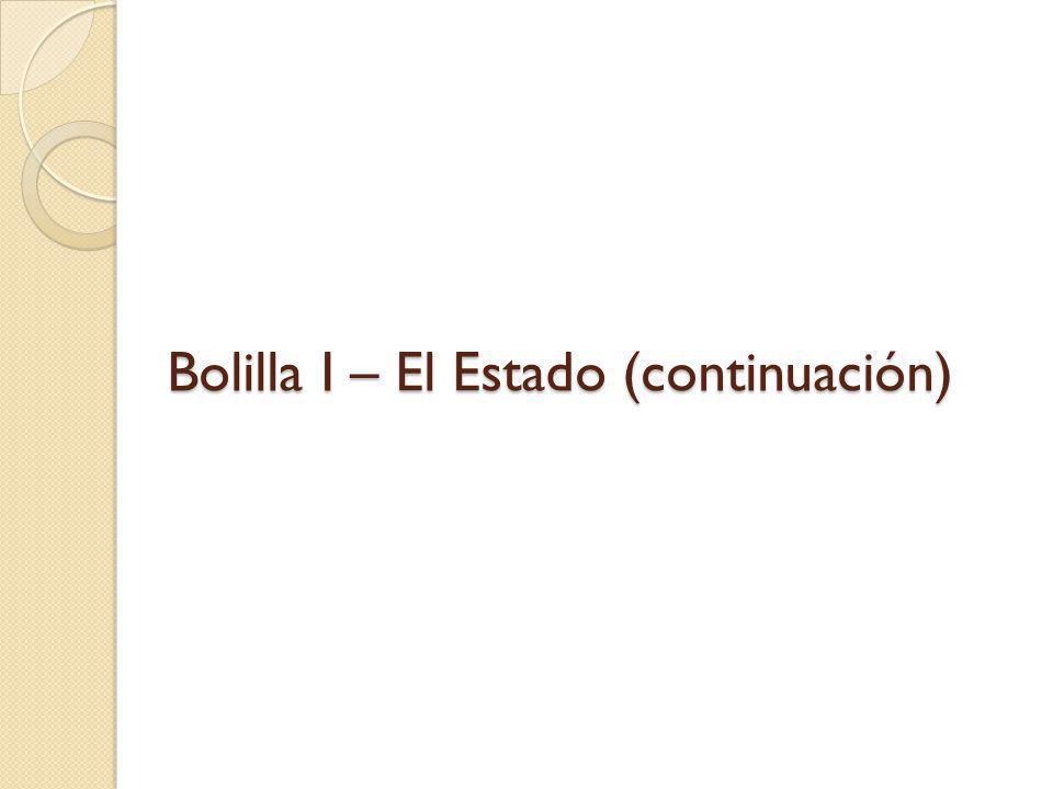 Bolilla I – El Estado (continuación)