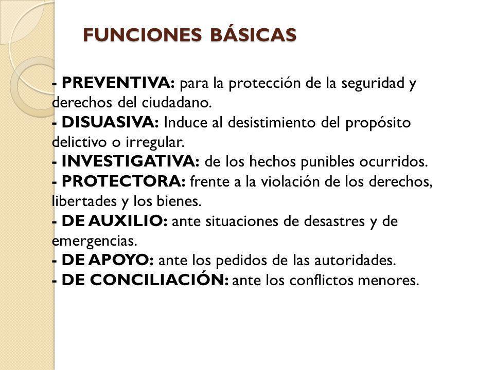 FUNCIONES BÁSICAS - PREVENTIVA: para la protección de la seguridad y derechos del ciudadano. - DISUASIVA: Induce al desistimiento del propósito delict