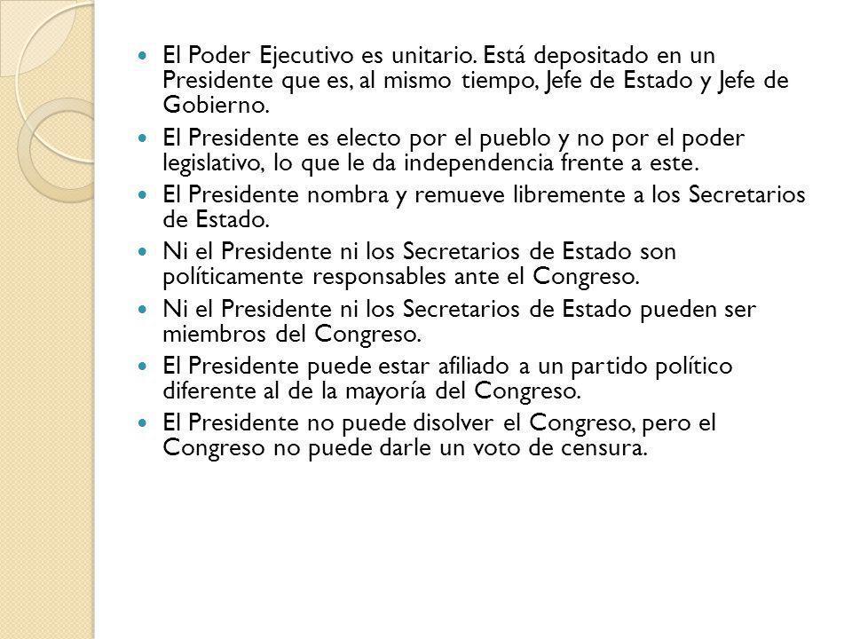 El Poder Ejecutivo es unitario. Está depositado en un Presidente que es, al mismo tiempo, Jefe de Estado y Jefe de Gobierno. El Presidente es electo p