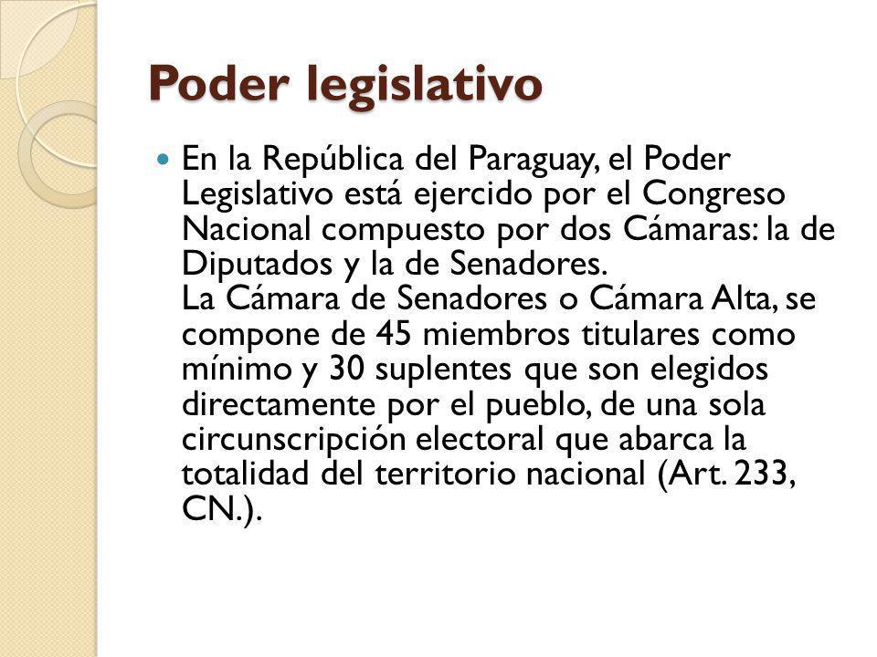 Poder legislativo En la República del Paraguay, el Poder Legislativo está ejercido por el Congreso Nacional compuesto por dos Cámaras: la de Diputados