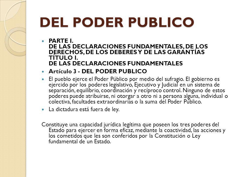 DEL PODER PUBLICO PARTE I. DE LAS DECLARACIONES FUNDAMENTALES, DE LOS DERECHOS, DE LOS DEBERES Y DE LAS GARANTÍAS TÍTULO I. DE LAS DECLARACIONES FUNDA