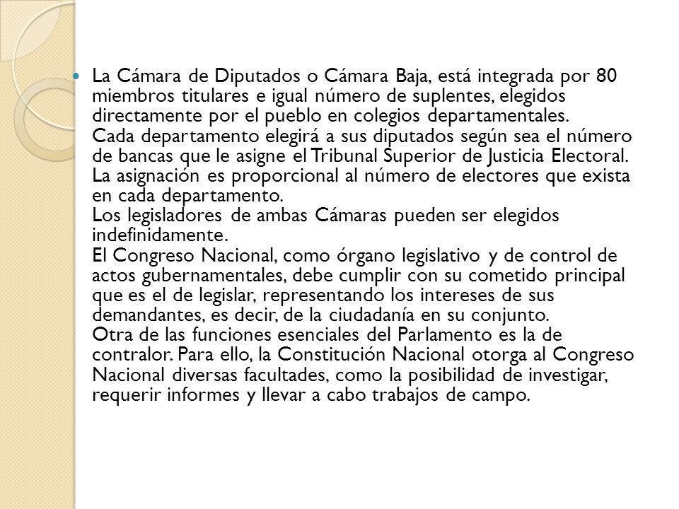 La Cámara de Diputados o Cámara Baja, está integrada por 80 miembros titulares e igual número de suplentes, elegidos directamente por el pueblo en col
